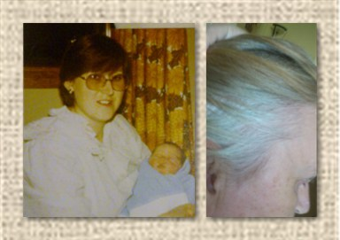 Dark hair 30 years ago - grey roots today!