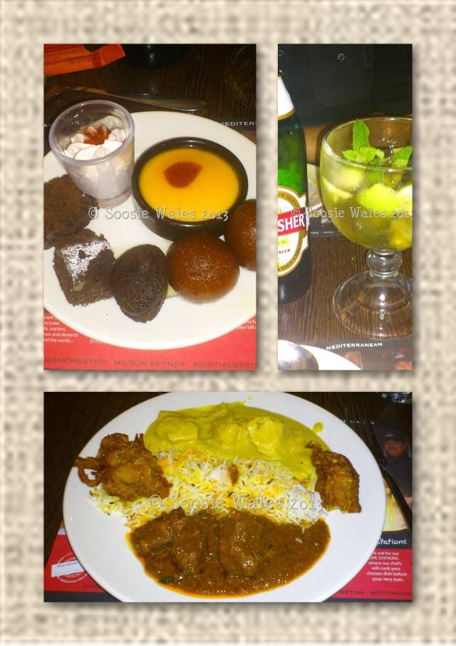 red hot buffet, curry, dessert, drink